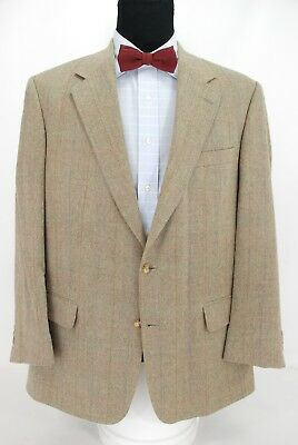 Brooks Brothers 2Btn Sport Coat Jacket Beige Brown Weave Multi-Color Check 43R