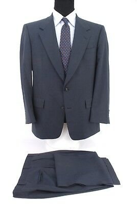 Hart Schaffner Marx Gold Trumpeter 2Btn Navy Blue Stripe Wool Suit Men's 41R