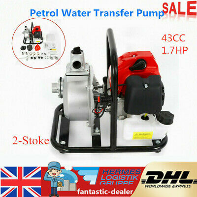 "1"" 43CC 1.7HP 2 Stroke Petrol Water Transfer Pump Pool Pond Irrigation Camping"