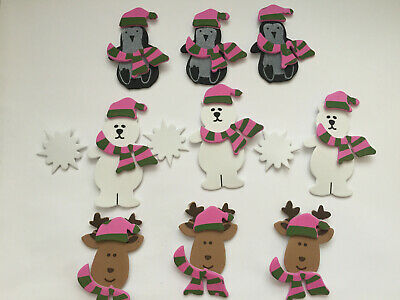 30 pcs Penguins, Reindeers & Bears with Hat/scarves/snow balls adhesive stickers