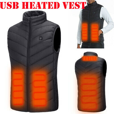 Electric USB Heated Vest Jacket Coat Warm Up Heating Pad Cloth Body Warmer Men