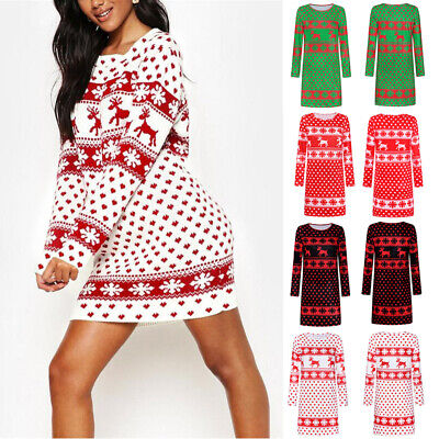 Womens Long Sleeve Christmas Print Mini Dress Ladies Casual Long Pullover Jumper