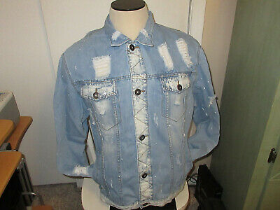 Denim Jacket men's Distressed/Ripped look new without tags