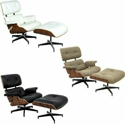 Eames Lounge Chair & Ottoman Reproduction 100% Genuine Leather Palisander WALNUT