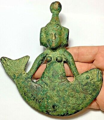 Museum Quality Luristan Bronze Military Ax Decorated With Huge Fish - Female Ca