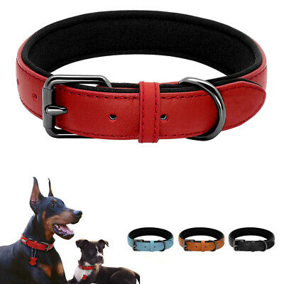 AU Strong Real Leather Dog Collar | Pet Cat Puppy | Tan Black Red | S,M,L Sizes