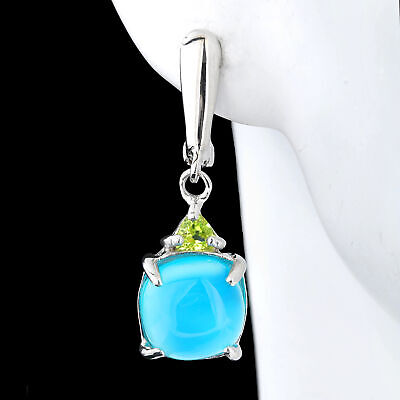 100% Natural 10Mm Blue Chalcedony & Peridot Genuine Gemstone Silver 925 Earring