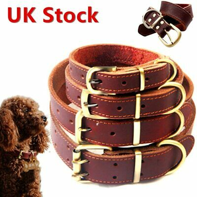 Adjustable Strong Real Leather Dog Collar Pet Cat Puppy Black Durable 5 Sizes