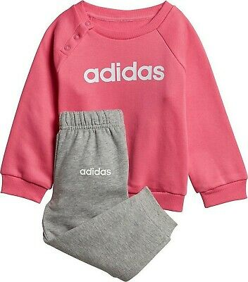 ADIDAS girls kids babies jogger sweatshirt pants top and bottom set pink grey