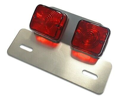Twin Square Motorcycle Motorbike Stop/Rear Tail Light Brake Light E-Marked