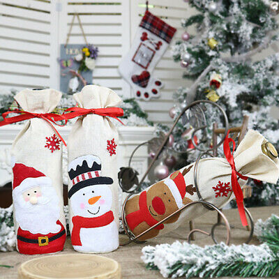 Red Wine Bottle Cover Bags Snowman Santa Claus Christmas Decoration SequinsFFB