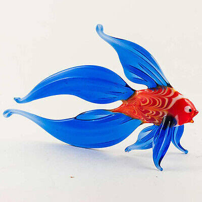 Big Fin Fish Glass Figurine, Fused Glass Sculpture Hand Blown Murano Glass Italy