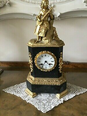 Antique French Henry Marc Mantle Clock 8 Day Gilt Metal
