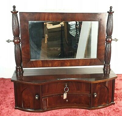 Toilet Furniture With Mirror. Veneer Of Mahogany. Victorian Style. Xix Century.