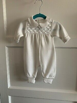 Vintage Ladybird Knit All In One White Cream Romper And Booties Newborn