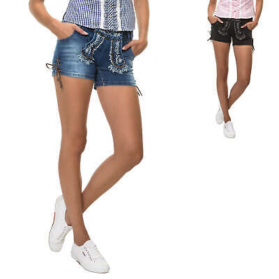 Hailys Damen Trachten Jeans Shorts Lederhose Denim Stretch
