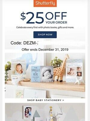 Shutterfly $25 to shop on REGULAR PRICE with code starts with DEZ, Exp 12/30/19