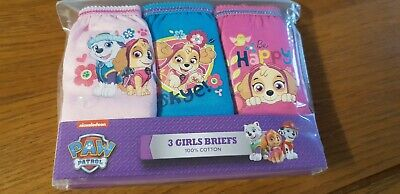 PAW PATROL 100% Cotton Girl's Briefs Knickers x 6 Pairs - 18 Months-5 Years