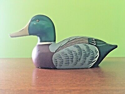 Vintage hand-carved & painted solid Wood Mallard Duck decorative decoy 12""