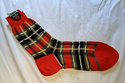 VINTAGE 40s PAIR OF RED PLAID INTER WOVEN SOCKS COTTON 11