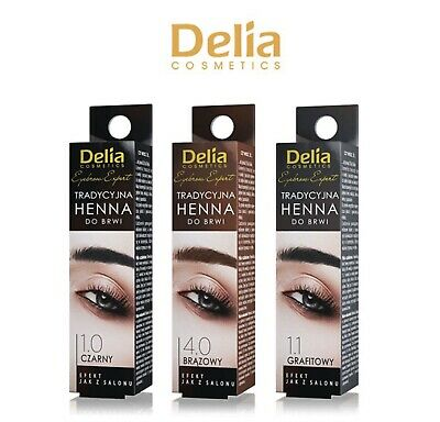 Delia Cosmetics Eyebrow Tint Powder Black Brown Eyelash Dye Kit with Activator