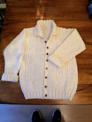Hand knitted Cream Aran cardigan size 28 inch chest, check actual measurements
