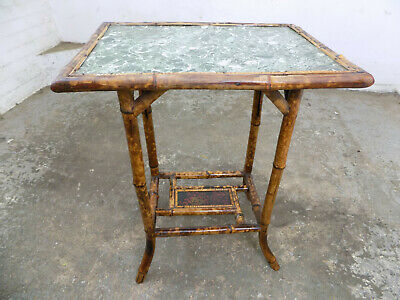 antique,victorian,2 tier,bamboo,side table,end table,square top,table,oriental
