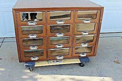 Antique 1900s Apothecary Hardware Store Drawer Cabinet Nut Bolt Wood RESTORED