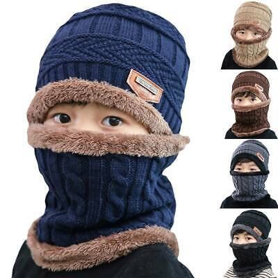 Unisex Boys Girls Fleece Knit Beanie Hats And Scarf Set Winter Thermal Kids Caps