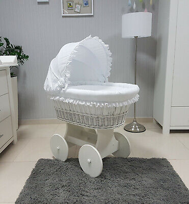 Complete Wicker Moses Basket With Stand Bedding Hood Mattress Hw-13