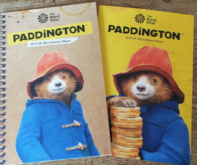 2019 & 2018 Royal Mint Paddington Bear 50p Coin Collector Albums - 2 Albums
