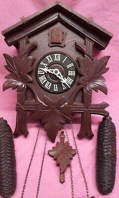 Antique Black Forest Cuckoo Clock Complete,Old And Lovely,Needs Attention