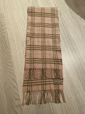 Girls Burberry Pink Merino Wool And Cashmere Signature Check Scarf