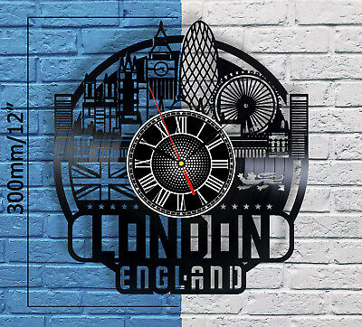 London Cityscape Vinyl Record Wall Clock Big Ben Westminster Bridge Home Decor