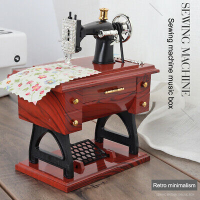 Cute Mini Sewing Machine Music Box Retro Gift Table Decor
