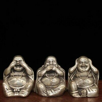 China Collectable Handwork Miao Silver Carve Three Humor Buddha Souvenir Statue