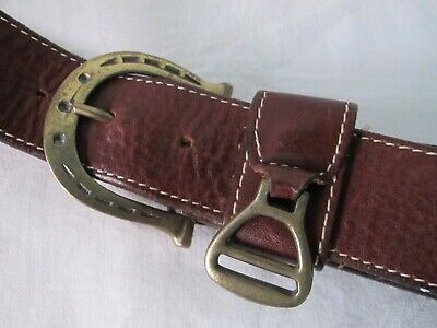Aubrion 25mm Cow Hair Skinny Belt Leather Belt with Brass Stirrup Buckle