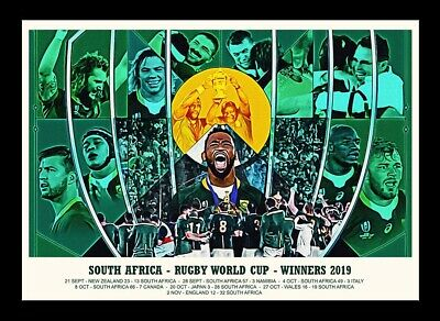 South Africa Rugby - World Cup Winners 2019 - Artwork - A3 Print