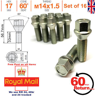 20 Extended Wheel Bolts tapered M12x1,5 40mm for KIA MINI Nissan Opel .