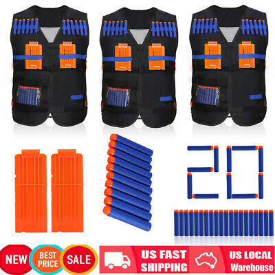 1/5/10xTactical Vest+10/100 Bullet Darts +2/10/20 Clips for Kids Xmas Gift Toy