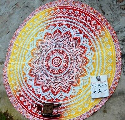 UK Seller Ombre Mandala Round Tapestry Spread Cover Couch Throw Christmas Du