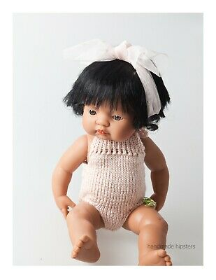 Miniland Doll Clothes romper overalls handmade in sydney knit 38cm doll sparkle