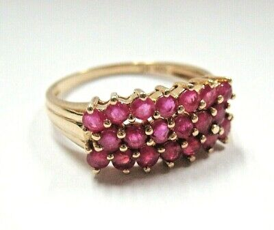 L@@K Beautiful Solid 10K Yellow Gold Cluster NATURAL Ruby Ring size 8 Must See