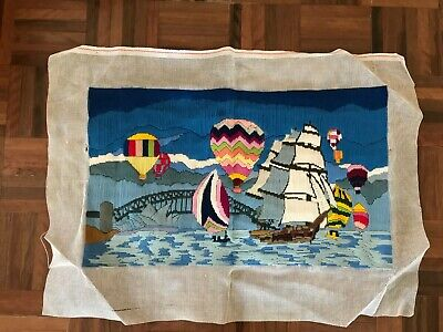Long stitch tapestry Sydney Harbour bridge hot air balloon southern swan boat
