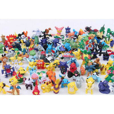 144 Pcs Pokemon Mini Figures Lot Pikachu Cake Topper Party Toys Gift (No Repeat)