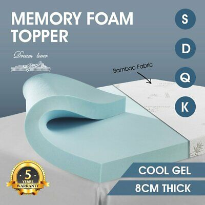 Topper COOL GEL BAMBOO Cover Bedding 8CM Thick Memory Foam Mattress All Sizes