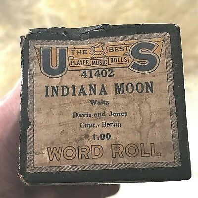 """US Player Piano Roll  """"Indiana Moon"""" No.41402 Good Condition."""
