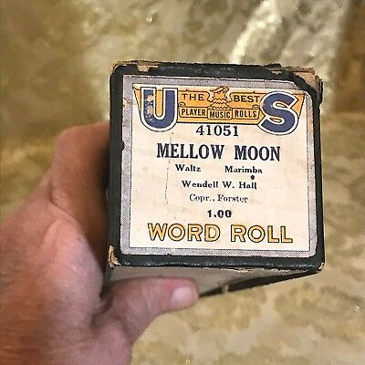 """US Player Piano Roll  """"Mellow Moon"""" No.41051  Good Condition."""