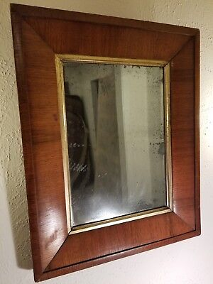 Antique from mid 1850's Mirror in Mahogany Veneer Frame with Gilt Inner Border