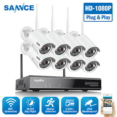 SANNCE Full 1080P 8CH NVR 2MP Video Outdoor Wireless Security IP Camera System